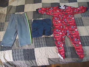 Mixed-Lot-Of-3-Baby-Boys-18-Months-Clothes-1-Sweat-Pants-1-Shorts-1-Footed-Pajam