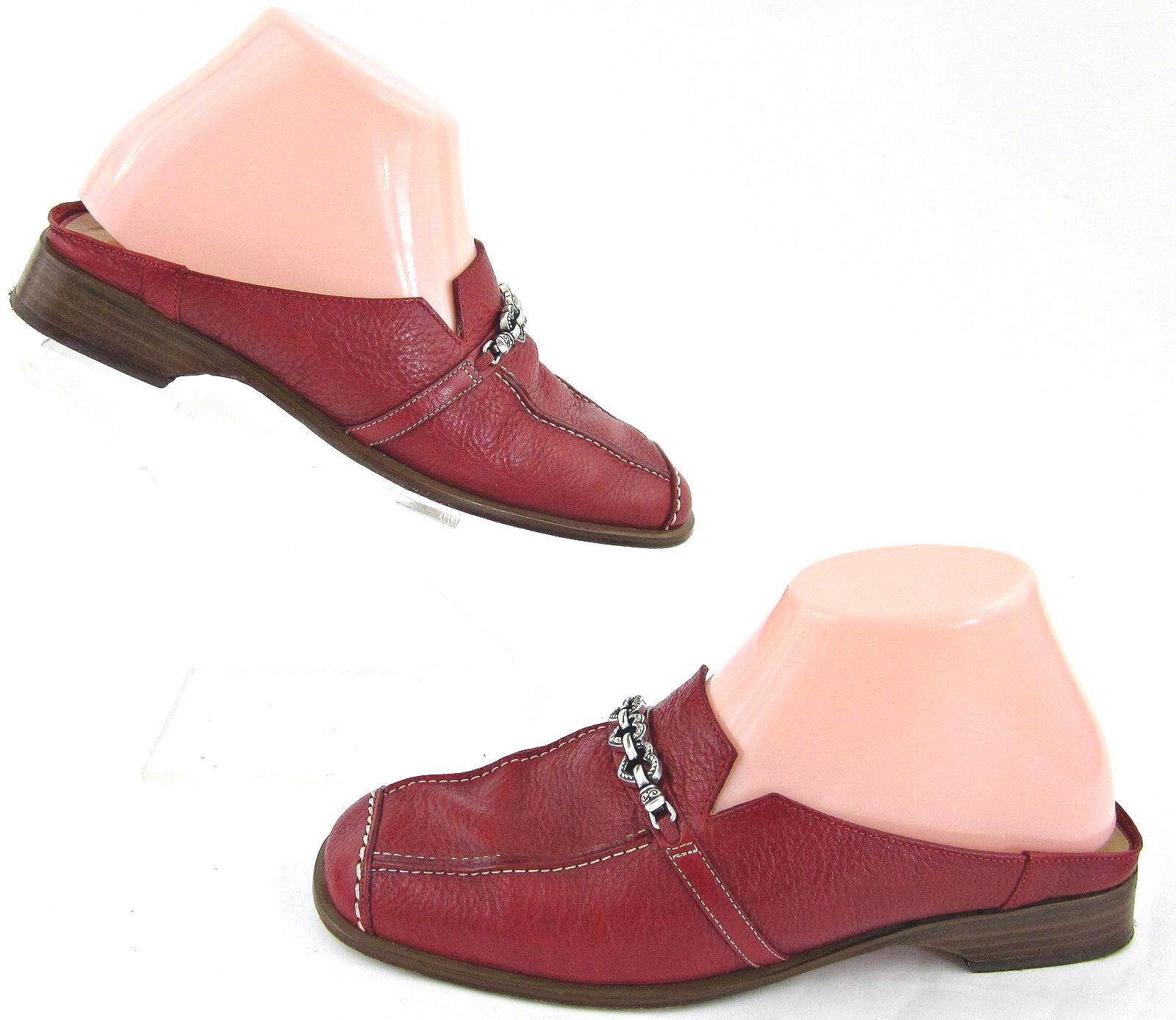 Brighton 'Josie' Low Heel Slide Mules Red Leather Sz 7M Made In