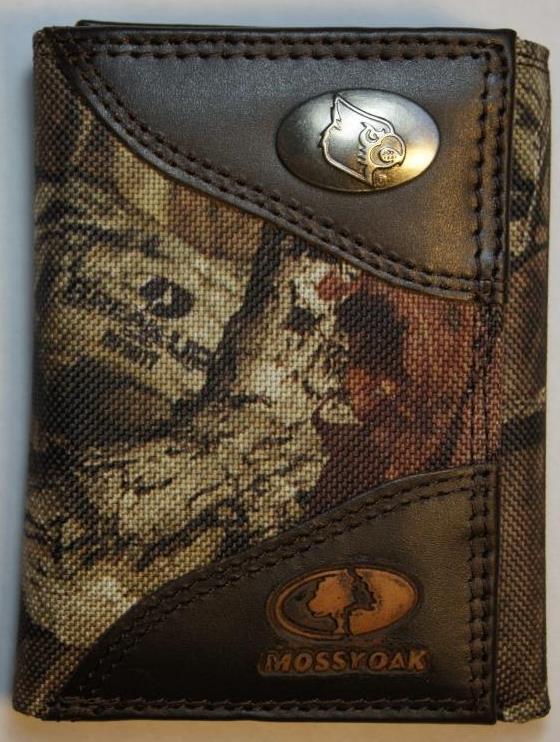 ZEP PRO Louisville Cardinals MOSSY OAK Camo Trifold Wallet Tin Gift Box