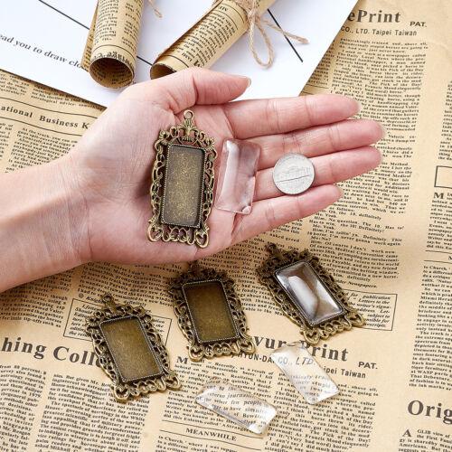6 Sets Tibetan Alloy Pendant Setting Bezel Rectangle Filigree /& 38x19mm Covers