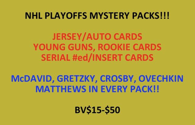 NHL PLAYOFFS MYSTERY PACK! AUTOS, JERSEYS, #ed, ROOKIE CARDS, INSERTS! BV$15-$50