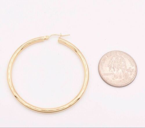 """3mm X 50mm 2/"""" Large Plain All Shiny Hoop Earrings REAL 10K Yellow Gold 3.5gr"""