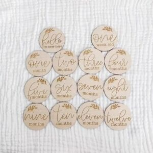 Wooden-Milestone-Cards-Round-Newborn-Baby-Shower-Gift-Month-Cards-Wood-14-Pcs