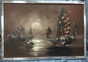 Vintage-Original-Asian-Influence-Oil-Painting-Artist-Signed-Nautical-Junk-Boats