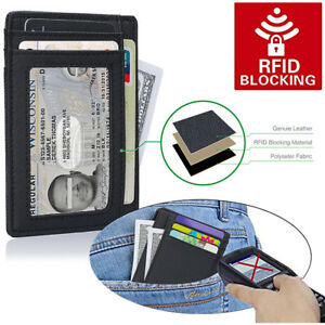 c661b36f7155 Details about Slim Wallet RFID Front Pocket Wallet Minimalist Secure Thin  Credit Card Holder