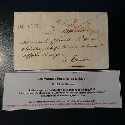 Briefmarken Pp St Jean De Morienne Rot Gesundheit Effektiv StäRken 1839 Herzogtum Savoyen Brief Cover Marke Post