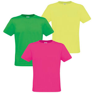 Mens Womens Ladies Neon T Shirt Fluorescent Bright Retro 80s Disco