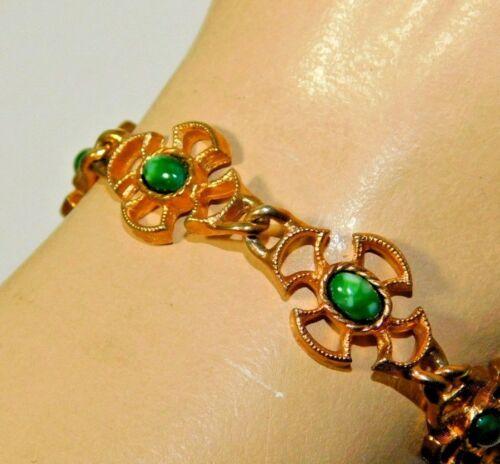 green jade stud pierced earrings green accent jewelry Vintage goldtone green stones 3 piece jewelry set Avon green stone bracelet