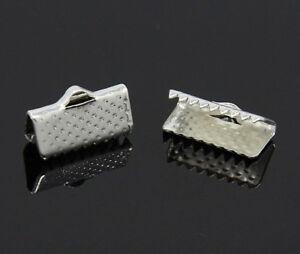 Endkappen-Verbinder-Verschluss-Krokodil-20stk-Metall-Silber-13mm-BEST-M58