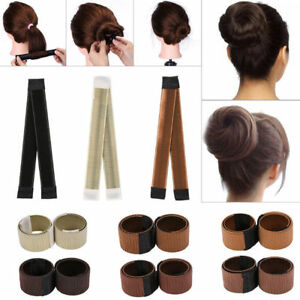 Women-039-s-Girls-Magic-Hair-Bun-Snap-Styling-Donut-Former-French-Twist-Band-Maker