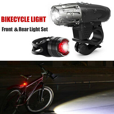 LED Bicycle Bright Bike 1 Front Headlight+2 Rear Tail Light Set USB Rechargeable