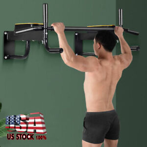 Wall-Mounted-Heavy-Duty-Chin-Pull-Up-Bar-Garage-Gym-Workout-Fitness-Equipment-US