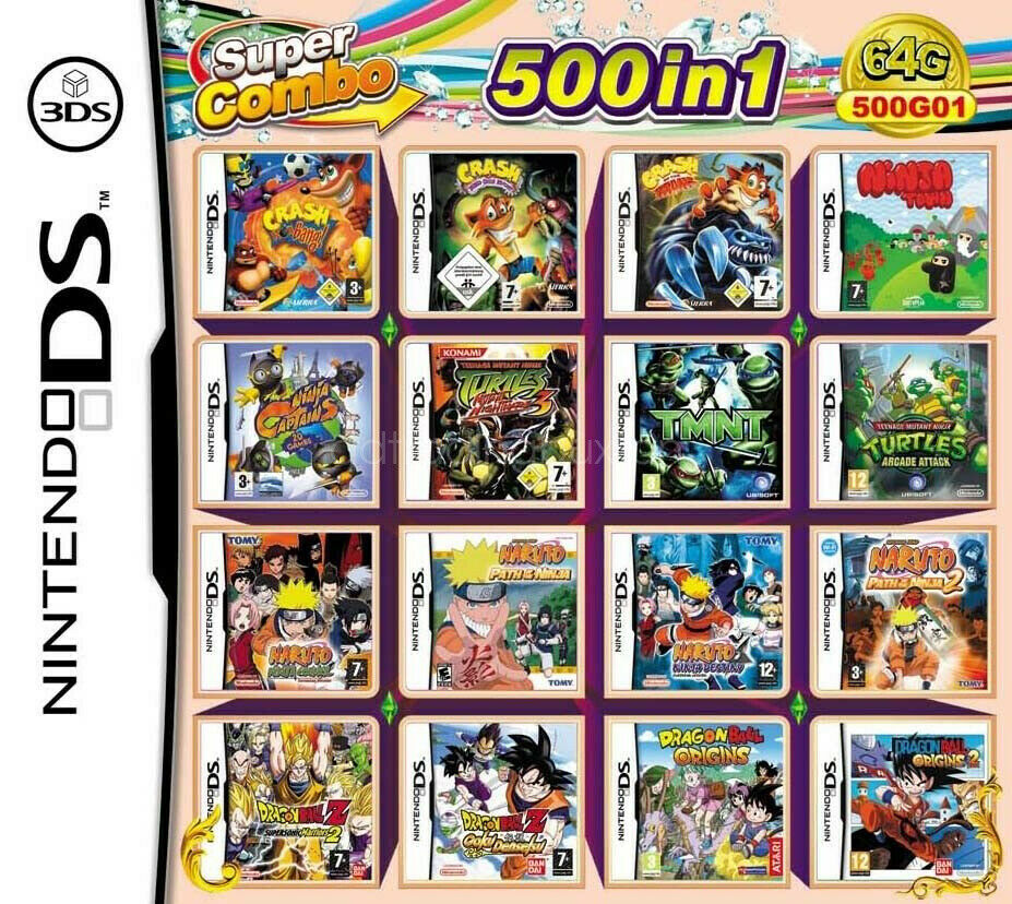 500in1 Game Games Cartridge Multicart For  DS NDS NDSL NDSi 2DS 3DS US 1