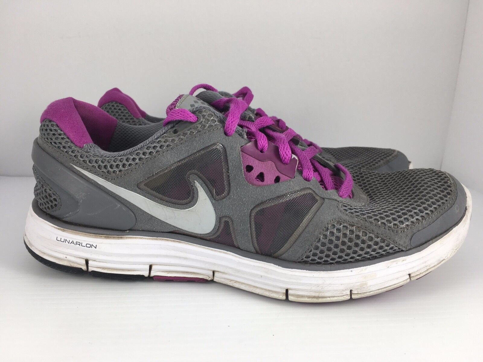NIKE Lunarglide 3 Women US 9.5 + Gray + 9.5 Purple Athletic Running Shoes  J6 598058