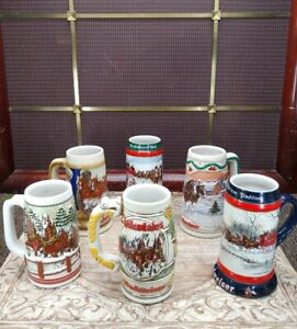 Lot of 6 Budweiser Beer Clydesdale Holiday Christmas Stein Mug and more