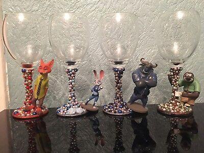 SALE! 4 Disney Figure Wine Glasses xx Zootropolis xx Flash, Jude Hopps, Nick xx | eBay