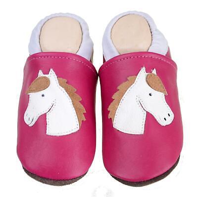 Hausschuhe Lederpuschen mit vollgummi #139 Pferd in pink