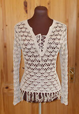 NEW LOOK beige crochet knitted lace-up fringe tassel jumper sweater top 8 36