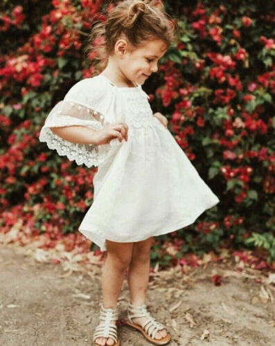 Summer Toddler Kids Baby Girls Lace Dress Princess Party Pageant Tutu Dresses US