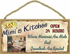 """Mimi's Kitchen Where Grandkids Are Spoiled 5""""x10"""" Grandmother Sign Plaque"""