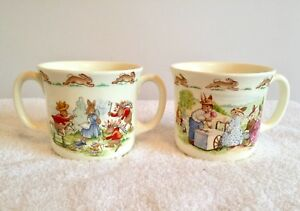 Set-2-Royal-Doulton-Bunnykins-Childrens-Mugs-Cups-Fine-Bone-China-England