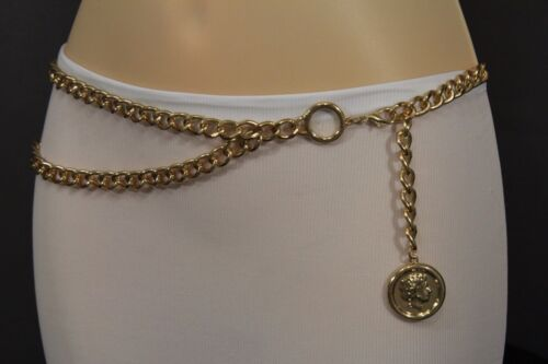 Women Metal Chain Belt High Waist Hip Gold Greek Big Coin Charm Plus Size XL XXL