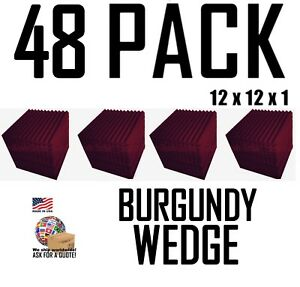 48-Pack-BURGUNDY-Acoustic-Wedge-Studio-Soundproofing-Foam-12x12x1-inch