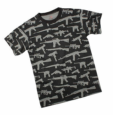 "T-Shirt - Multi Print ""Guns"" - Black"