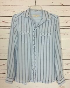 Loft Women's Size XS Extra Small Blue Striped Long Sleeve Cute Spring Top Blouse