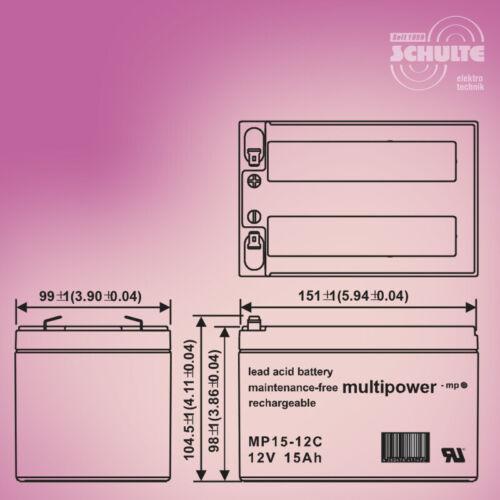 Forca CitySpeedster III 500 Akku-Satz 36V Batterien f 3 x 12V 15Ah Blei-AGM