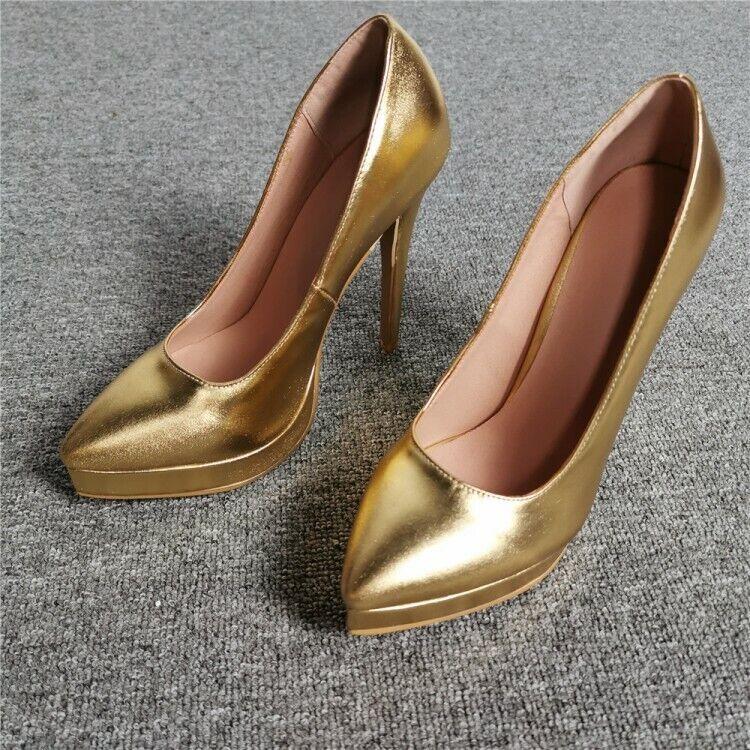 Sehr hoher Absatz Damen Lackleder Stilettos Schnalle Fesselriemen Pumps Gold 47