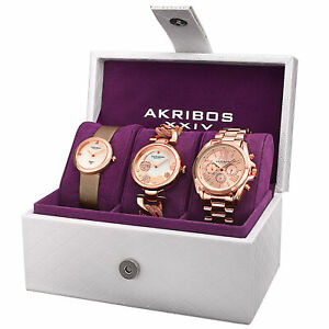 Akribos-XXIV-Women-s-Quartz-Diamond-Multifunction-Strap-Bracelet-Watch-Set