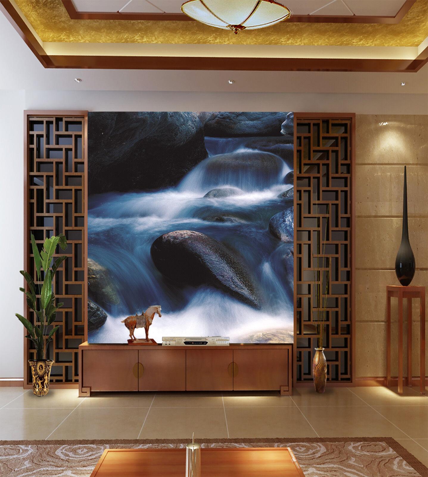 3D Glatten Stein wasserfälle Fototapeten Wandbild Fototapete BildTapete Familie