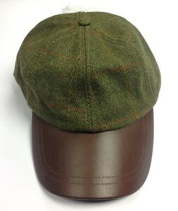Game Dark Tweed Leather Peak Cap Hat Baseball Country Hunting ... f23edff17f7f