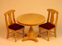 Dollhouse Miniature Round Natural Table & And 2 Chairs