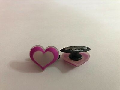 Pink and White Heart Shoe-Doodle For Rubber Shoes or Crocs Shoe Charm PSC405PK