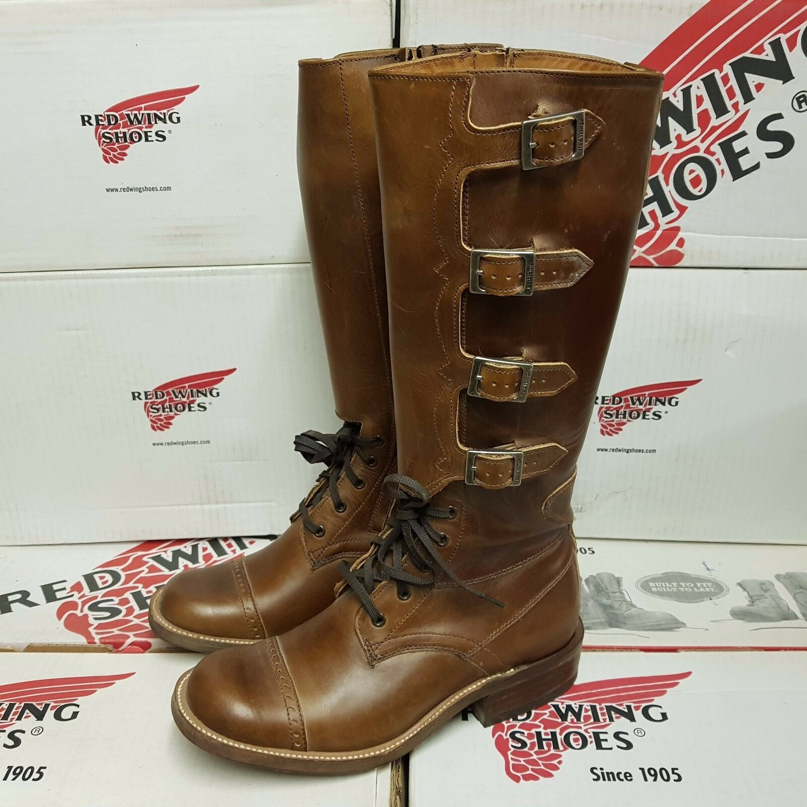 RED WING SHOES 9065 Buckle women's leather boots US 8,5 (pv:599$)