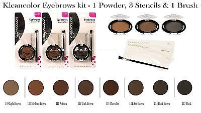 kleancolor Eye brow Kit - 3 Eyebrows Stencils, 1 Eyebrow Powder, 1 Brush Kit