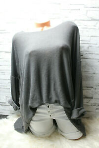 Italy-Pullover-Vintage-Gr-38-40-42-44-Shirt-Oversized-Long-Puder-Grau-blogger
