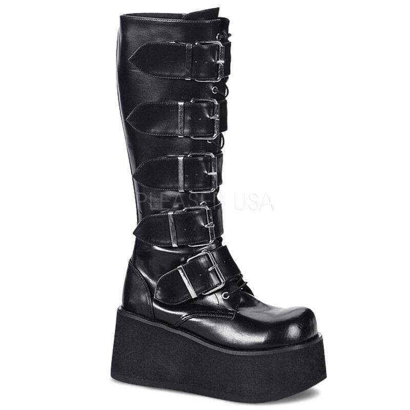 Demonia Goth Punk Knee Stiefel Trashville-518 mattschwarz