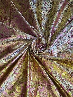 """5Mnew gold COLOUR PAISLEY METALLIC BROCADE FABRIC 58/"""" WIDE"""