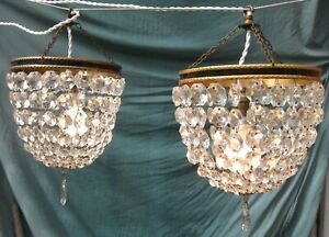 Pair-of-Vintage-Glass-Chandeliers
