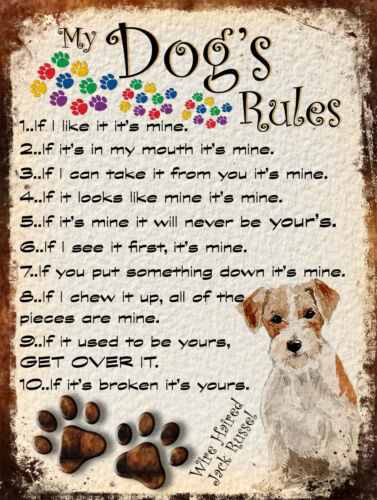 Dog/'s Rules Funny Metal Tin Signs Club Pub Pet Plaque Retro Style Gift Posters