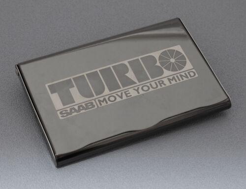 "/""SAAB TURBO/"" Lacquered Metal Name Card Case Nice Laser Engraving!"