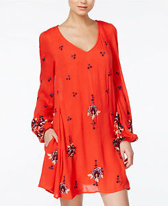 a44ff4e3956f3 $128 Free People Bright Rich Red Embroidered Oxford Floral Folk Mini ...