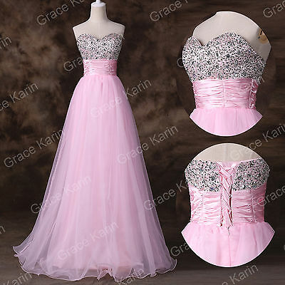 New Stock Sequins Beaded Evening Formal Ball gown Party Prom Dress Long SZ 2 4++