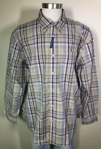 Basic Editions Long Sleeve Green Burgundy Plaid Easy Care Shirt Big Mens 2XL NWT