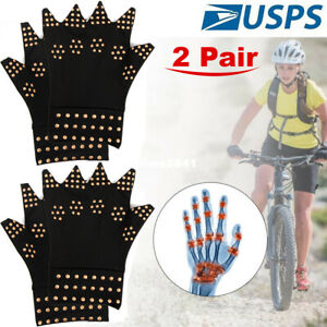Arthritis Gloves Fingerless Copper Compression Medical Support Therapeutic USA