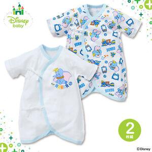 Disney-Japan-Dumbo-Baby-Girl-Boy-Wrap-Over-All-Season-Cotton-One-piece-2pc-Set