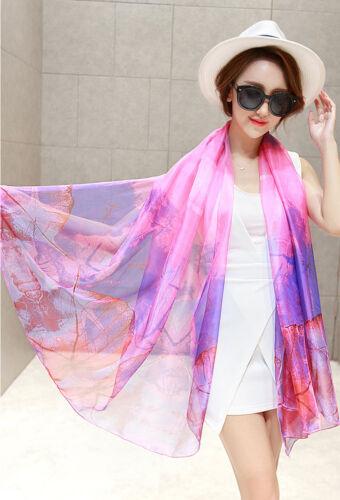 Lady Women Long Floral Printed Soft Scarf Wrap Shawl Scarves Fashion Silk Stole